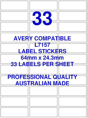 Avery L7157 Compatible Address Shipping Labels Stickers 33 X 100 Sheets Laser
