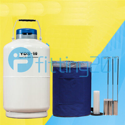 1PCS Cryogenic Liquid Nitrogen Container LN2 Tank Dewar with Straps YDS-10 10L
