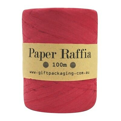 Red Paper Raffia - 4mm x 100m Metres Bulk Roll - Gift Wrapping Packaging Twine