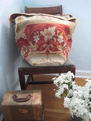 Vintage Floral Wool Needlepoint Rug WEEKEND Carpet BAG X Large Purse Tote