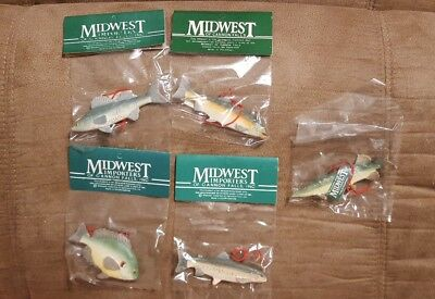 Lot of 5 Midwest Importers Christmas ornaments of fish TROUT,PIKE,SALMAN,BREAM