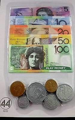 44 Pcs Play Money Notes And Coins Australian Currencies Aussie Australia Toy