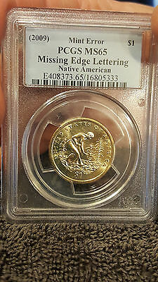 2009,native American,1$,missing Edge Lettering Error.pcgs.ms.65,nice Coin !!