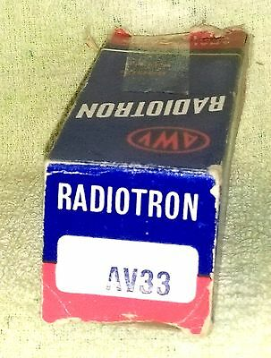 NOS AWV Super Radiotron AV33 vacuum tube radio TV valve, TESTED