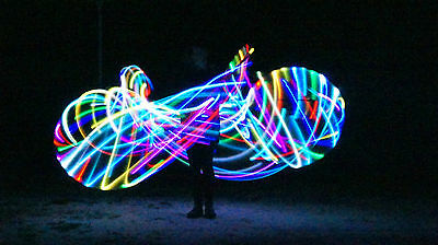 LED Rainbow Dance and Fitness Hula Hoop With 2 Rechargeable Batteries + Charger