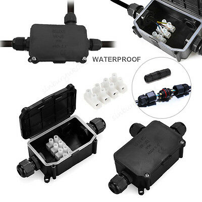 2 3 Way Outdoor Waterproof IP66 IP67 Cable Connector Junction Box 240v UK Mains