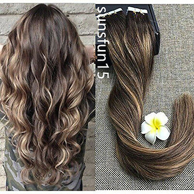 Remy Echthaar Tape In Extensions Haarverlängerung Ombre Balayage