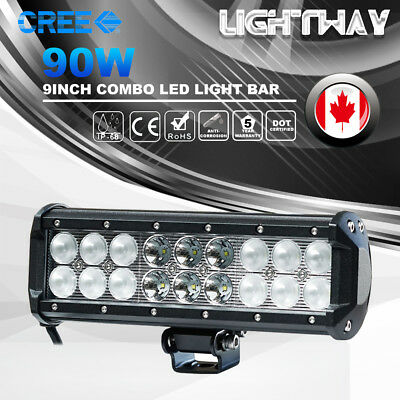 90w 9Inch CREE Led Work Light Bar Combo Beam Off road Driving Truck SUV 4WD