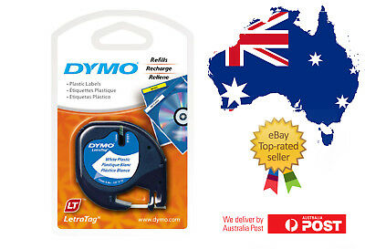 DYMO Refill Tapes 91331 LetraTag WHITE Plastic LT Label  12mmx4m