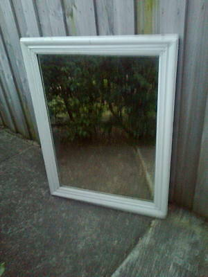Large White Wooden Framed Vintage Mirror Mascot