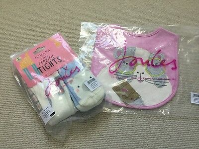 Joules baby bib and tights 0-6 mths