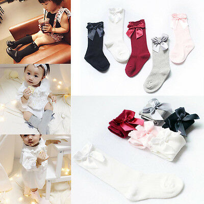 Baby Girls Socks Knee High Bows Cute Pantyhose Socks Long Tube Kids Leg Warmers