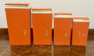 Vintage Nally Ware Orange Canisters x 4