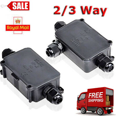 Packs of 2 / 3 Way Outdoor Waterproof IP66 Cable Connector Junction Box 240v UK