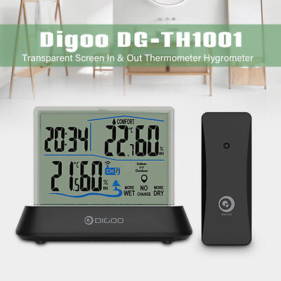 Digoo In&Outdoor Wireless Transparent Screen Thermometer Hygrometer Sensor Clock