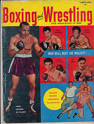 rare Boxing and wrestling 1952 magazine -Walcott / Marciano /Charles and more