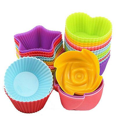 10 Pcs Silicone Cupcake Muffin Pastry Soap Baking Mold Mould DIY Cupcake Cases