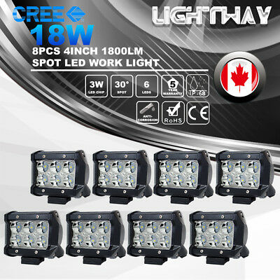 8x 4inch 18W CREE LED Work Light Bar Spot Beam Offroad 4WD ATV SUV Driving Lamps