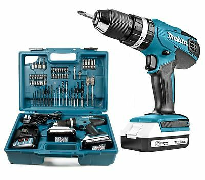 Makita 18v Li-ion Cordless Hammer Combi Drill + 2 x Batteries, Charger & Case
