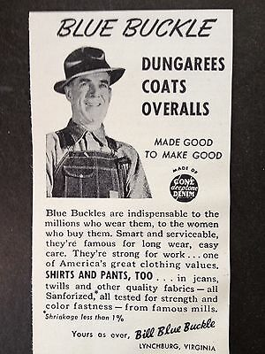 Vintage 1948 Ad(Mc28)~Blue Buckle Dungarees. Lynchburg, Va.