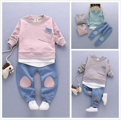 Kids Tracksuit Outfits Boys Girls Baby Cotton Hooded Romper Jumpsuit Clothes Set