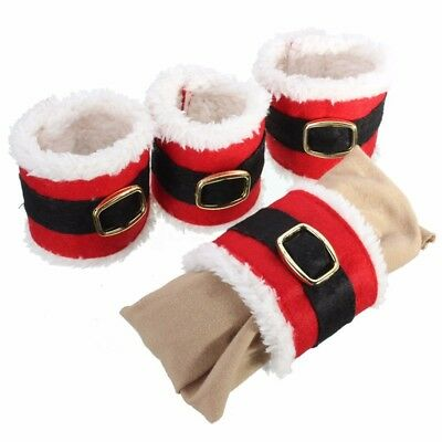 4pcs Christmas Napkin Rings Serviette Holder Wedding Banquet Dinner Decor