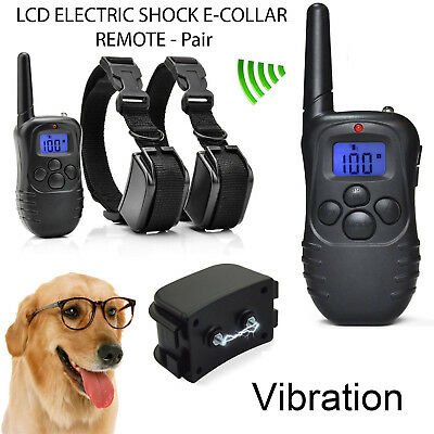 Pet Dog Training Collar Rechargeable Electric LCD 100LV Shock  (Two Collars)  KY