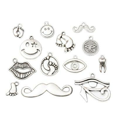 22 Assorted Antique Silver Body Parts Beads DIY Jewelry Charms Pendants Tags
