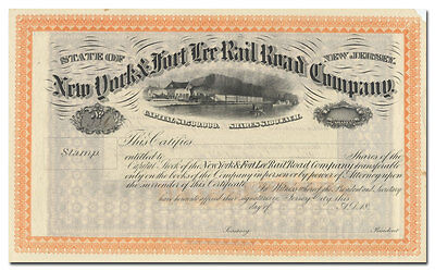 New York & Fort Lee Rail Road Company Stock Certificate