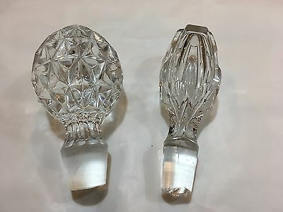 2 X Cut Glass Decanter Tops / Stoppers