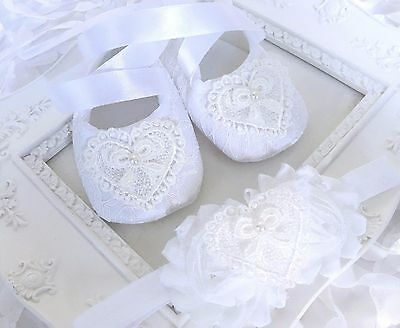 Baby Girl White Christening Baptism Shoes Lace Heart Headband Set