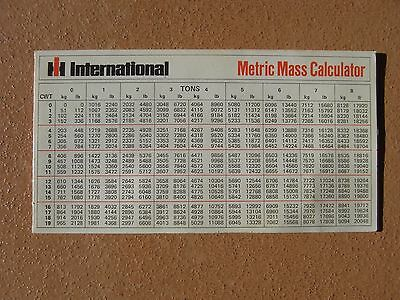 International Tractors Metric Mass Calculator 1975