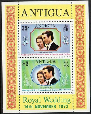 Antigua, 1973 Royal Wedding Minisheet Mnh