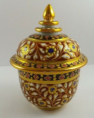 Thai Benjarong Hand Painted Lidded Pot