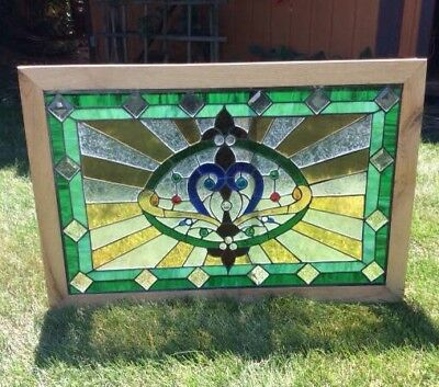 """Antique Leaded Stained Glass Window Church Farmhouse Large 28"""" X 41.5"""" Vintage"""