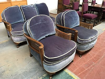 Antique Victorian Bergere 3 Piece Suite Blue Draylon