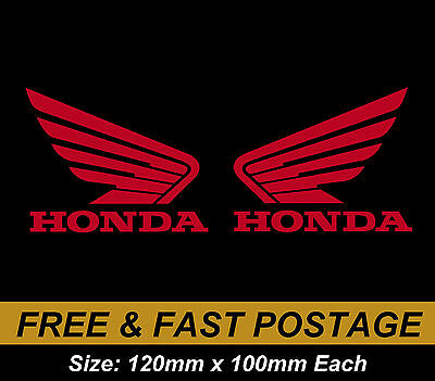 Honda Wing Tank Fuel QUALITY VINYL STICKER DECAL PAIR NO Background Motorcycle