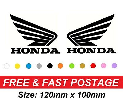 Honda Wing Fuel Tank QUALITY VINYL STICKER DECAL NO Background PAIR Motorcycle