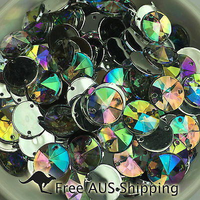 Clear AB Rivoli Round Acrylic Crystal Flatback Rhinestones 10mm - 100pcs Sew On