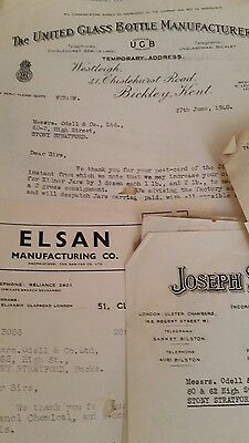 A Collection of  business letters, bills headed notepaper 1940s Stony Stratford