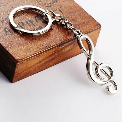 Metal Treble Clef Musical Symbol Key Ring Key Chain f3