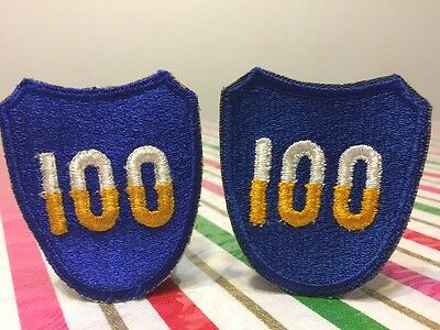 Lot Of 2 Patches WW2 US ARMY 100th Infantry Division Ribbed Weave Patch