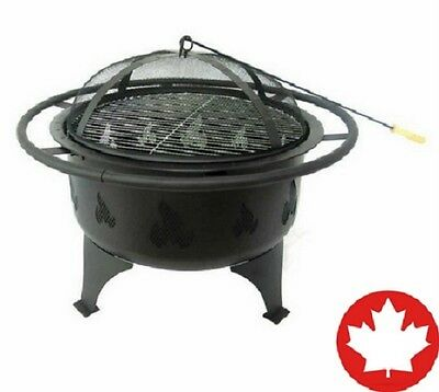 Steel Round Wood Burning Fire Pit Patio Outdoor Stainless Steel Cooking Grill