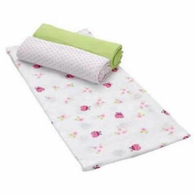 """Summer 3x Ladybugs Pink Flowers Cotton Large Muslin 1m Squares Swaddles 40""""x40"""""""