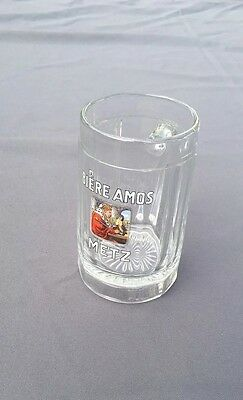 Superbe Chope A Biere Ancienne Emaillee Amos Metz Antique Enamel Beer Glass