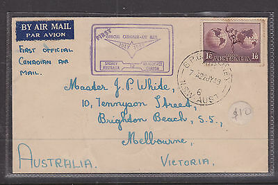F.f.c.: 1949 First Official Canadian Air Mail Sydney To Vancouver