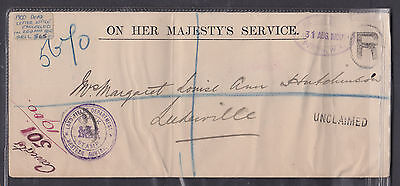 1900 Dead Letter Office Cover, Violet Land Titles Dep W.a. Registered Perth Uncl