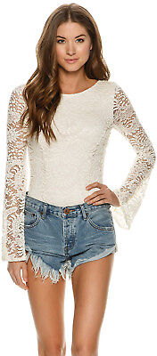 New Billabong Women's Eternal Bliss Crochet Lace Bodysuit White