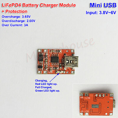 5V Mini USB DC 3.6v Charger 3.2v LiFePO4 Battery Charger Module + Protection