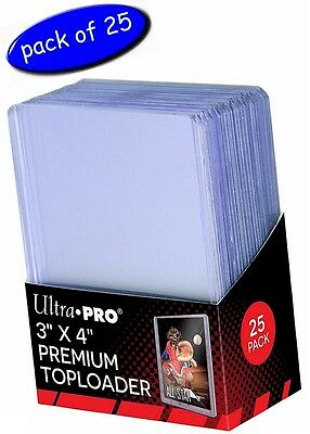 """Ultra-Pro 3"""" x 4"""" PREMIUM Clear Toploaders - Pack Of 25 - Top Loader / Loaders"""